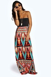 Boohoo Geo Print Bandeau Maxi Dress Multi