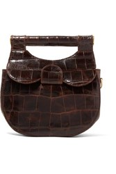 Staud Madeline Mini Croc Effect Leather Shoulder Bag Dark Brown