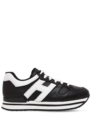 Hogan 50Mm H222 Active Leather Sneakers Black White