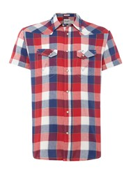 Wrangler Men's Short Sleeve Western Check Shirt Red