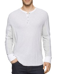 Calvin Klein Jeans Mixed Media Waffle Henley Tee Classic White