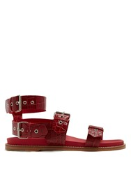 Marques Almeida Double Strap Crocodile Effect Leather Sandals Red