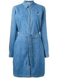 Kenzo Mini Tiger Denim Shirt Dress Blue