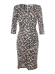 Leopard Print Wrap Dress Brown