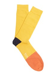 Paul Smith Contrast Trim Cotton Blend Socks Yellow Multi