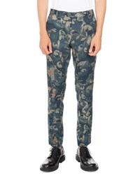 Dries Van Noten Patrini Floral Print Slim Straight Trousers Dark Green