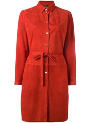 Kiton Belted Shirt Dress Red