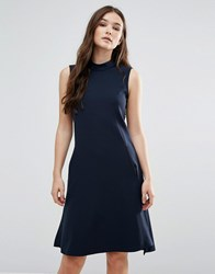 Closet London Sleeveless Collared Tunic Dress Navy Blue