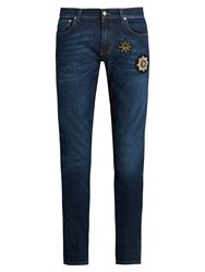 Alexander Mcqueen Badge Applique Skinny Jeans Dark Blue