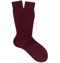 Berluti Ribbed Cotton Socks Burgundy