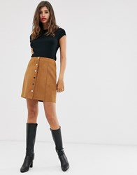 Mango Faux Suede Button Front Mini In Brown Black