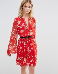 Style London Skater Dress With Fluted Sleeves Red