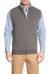 Peter Millar Zip Front Fleece Vest Gray
