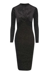 Topshop Glitter Velvet Long Sleeve Midi Dress Black