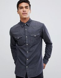 Selected Homme Gray Wash Denim Overshirt Gray