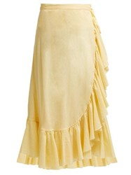 Loup Charmant Ruffle Trim Cotton Midi Skirt Light Yellow