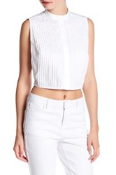 Kendall And Kylie Tuxedo Cropped Shirt White