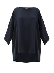 Eskandar Boat Neck Oversized Silk Crepe T Shirt Navy