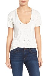 Joe's Jeans Women's Gilles Destroyed Silk Blend Tee White