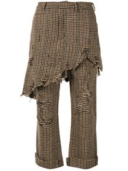 R 13 R13 Double Classic Houndstooth Trouser Brown