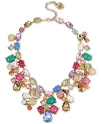 Betsey Johnson Gold Tone Multicolor Stone And Crystal Statement Necklace