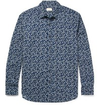 Club Monaco Johnny Slim Fit Floral Print Cotton Poplin Shirt Navy