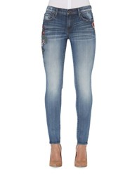 Driftwood Skinny Embroidered Jeans Light Blue