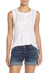 Women's Caslon Embroidered Lace Detail Cotton And Modal Tank White