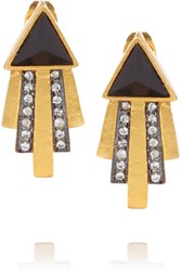 Kevia Gold Plated Onyx And Crystal Earrings Black