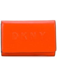Dkny Logo Debossed Wallet Women Leather One Size Yellow Orange