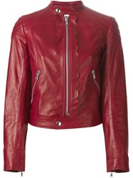 Red Valentino Scalloped Trim Leather Jacket