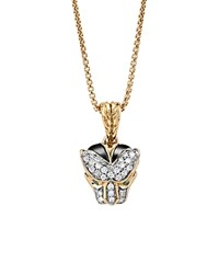 John Hardy 18K Yellow Gold Legends Macan Small Pendant Necklace With Diamonds And Swiss Blue Topaz 16 White Gold