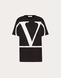 Valentino Vlogo T Shirt Black White Cotton 100 Black White