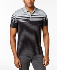 Alfani Men's Engineered Striped Polo Only At Macy's Black