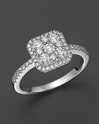 Bloomingdale's Diamond Cluster Ring In 14K Whte Gold .75 Ct. T.W. White Gold White Diamonds