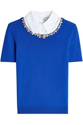 Mary Katrantzou Embellished Wool Pullover With Collar