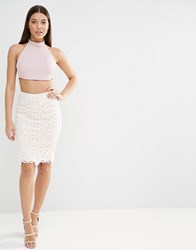 Lipsy Lace Overlay Skirt White