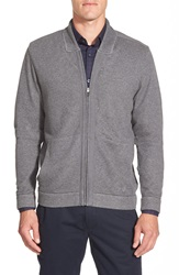 Calibrate Trim Fit French Terry Knit Bomber Jacket Grey Charcoal Heather