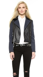 J Brand Aiah Leather Jacket Navy