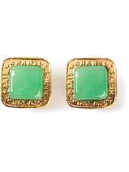 Chanel Vintage Square Shaped Clip On Earring Green