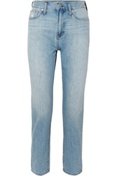 Madewell The Perfect Summer Cropped High Rise Straight Leg Jeans Light Denim