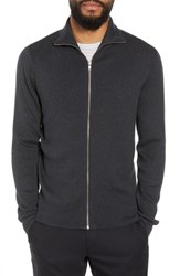 Calibrate Mock Neck Zip Sweater Black Caviar Heather