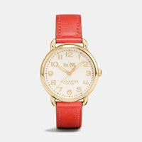 Coach Delancey Gold Tone Sunray Dial Leather Strap Watch Deep Coral