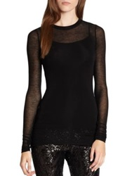 Bcbgmaxazria Agda Sheer Long Sleeve Tee Heather Grey Black