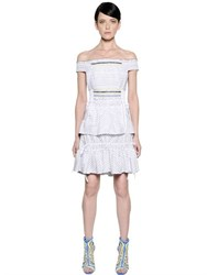 Peter Pilotto Off The Shoulders Striped Jacquard Dress