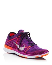 Nike Women's Free Flyknit Lace Up Sneakers Violet Crimson White