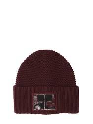 Courreges Vinyl Logo Patch Wool Beanie Hat Bordeaux