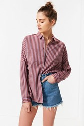 Urban Outfitters Uo Relaxed Fit Button Down Shirt Rust