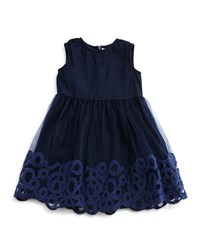 Il Gufo Sleeveless Embroidered Tulle Dress Navy