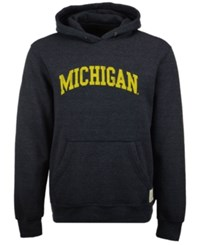 Retro Brand Men's Michigan Wolverines Tri Blend Fleece Hoodie Navy
